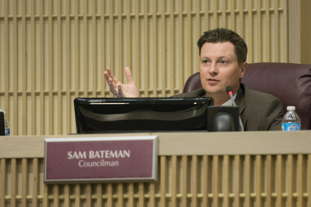 Councilman Sam Bateman asks city manager candidate Steven R. Sarkozy a question during Sarkozy's interview in council chambers at Henderson City Hall on Thursday, July 9, 2015. (Jason Ogulnik/Las  ...