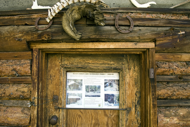 The door to the Hidden Forest Cabin in the Sheep Mountains north of Las Vegas is shown Tuesday, May 12, 2009. The Fish and Wildlife Service will repair and restore the remote, century-old log cabi ...