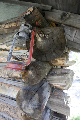 Overlapping logs are shown on a corner of the Hidden Forest Cabin in the Sheep Mountains north of Las Vegas is shown Tuesday, May 12, 2009. The Fish and Wildlife Service will repair and restore th ...