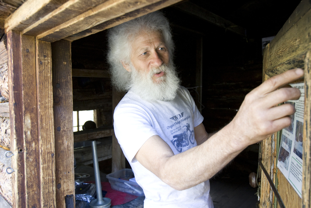 Kent Olson, 68, a historic log cabin restoration expert, checks out the door of the Hidden Forest Cabin in the Sheep Mountains north of Las Vegas Tuesday, May 12, 2009. Olson will lead a team of v ...