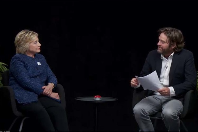 "Hillary Clinton with Zack Galifianakis on ""Between Two Ferns."" (FunnyOrDie.com)"