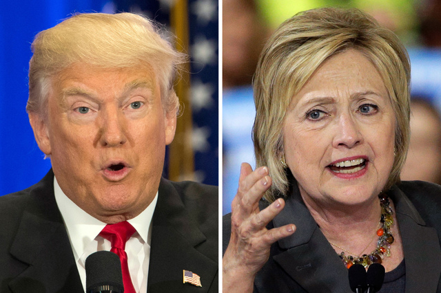 This file photo combo of file images shows U.S. presidential candidates Donald Trump, left, and Hillary Clinton. (AP Photo/Mary Altaffer, Chuck Burton, File)