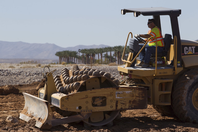 Heavy equipment works on the site of the headquarters and practice facility for Las Vegas's HNL expansion team on Pavilion Center Drive across from Downtown Summerlin on Wednesday, Sept. 14, 2016. ...