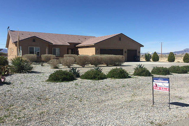 A home for sale is shown earlier in 2016. Las Vegas home values are rising faster than the national average, a new report shows. (Mick Akers/Pahrump Valley Times)