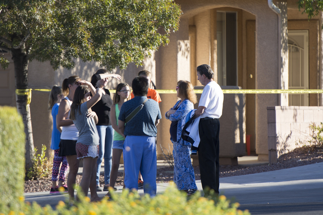 Las Vegas Police and Las Vegas Fire & Rescue gather for a barricade situation near Napa Hills Drive and Piedmont Valley Ave. in Summerlin, Sunday, Sept. 25, 2016. The Metropolitan Police Depar ...