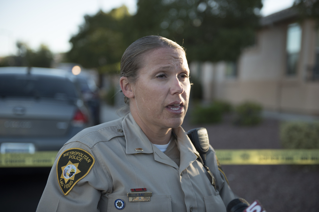 Las Vegas Police Lt. Kristine Buist gives a press conference for a hostage situation near Napa Hills Drive and Piedmont Valley Ave. in Summerlin, Sunday, Sept. 25, 2016. The Metropolitan Police De ...