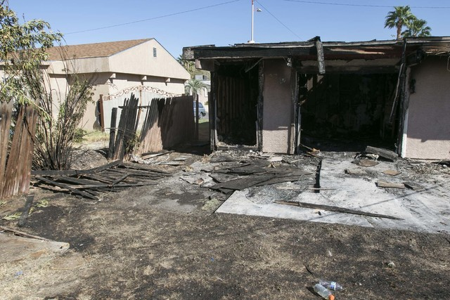 A fire damaged a vacant house at 3812 Budlong Ave., near U.S. Highway 95 and Charleston Boulevard, in east Las Vegas on Tuesday, Sept. 13, 2016. (Richard Brian/Las Vegas Review-Journal Follow @veg ...