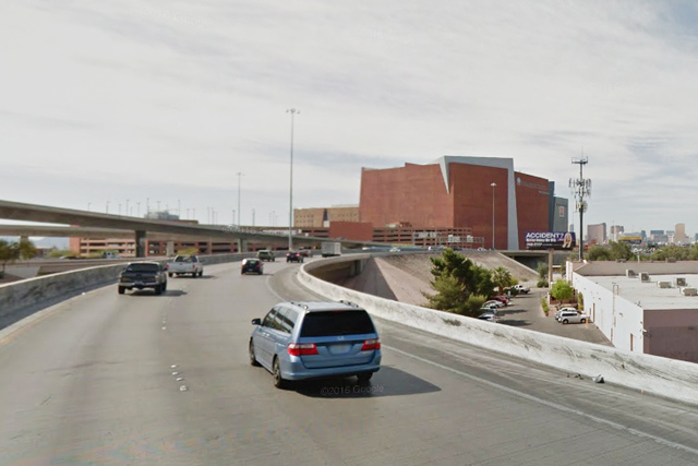 US-95 ramp to southbound I-15 in Las Vegas. (Google Street View)