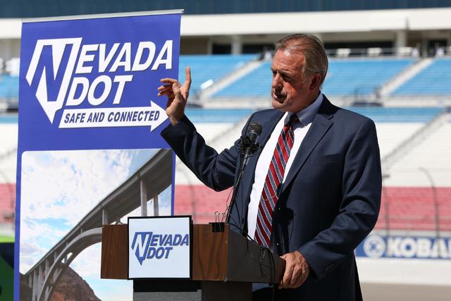 North Las Vegas Mayor John Lee speaks at a Nevada DOT press conference at the Las Vegas Motor Speedway on September 19, 2016. (Michael Quine/Las Vegas Review-Journal Follow @Vegas88s)