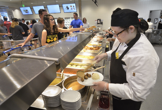 Server Kim Symons prepares a Swedish meatball plate in the IKEA Restaurant at 6500 IKEA Way in Las Vegas on Saturday, Sept. 3, 2016. Bill Hughes/Las Vegas Review-Journal