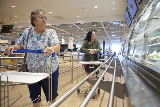Janice Matthews, left and Maureen Mills look at the food display at the IKEA store in Las Vegas on Wednesday, Sept. 7, 2016. Loren Townsley/Las Vegas Review-Journal Follow @lorentownsley