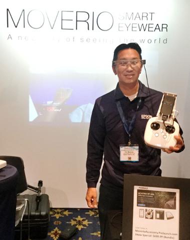 Eric Mizufuka with Epson America Inc exhibits Moverio augmented reality smart glasses during InterDrone on Thursday, Sept. 8, 2016 inside Paris Las Vegas. Nicole Raz/Las Vegas Review-Journal