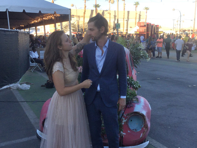Kristopher Lovett and his wife Andrea Kilness are seen after their wedding at Life Is Beautiful in downtown Las Vegas, Sunday, Sept. 25, 2016.  Raven Jackson/Las Vegas Review-Journal.
