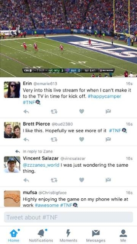 Twitter's experimentation with streaming NFL games was met with mostly rave reviews during Thursday night's game between the Buffalo Bills and the New York Jets.