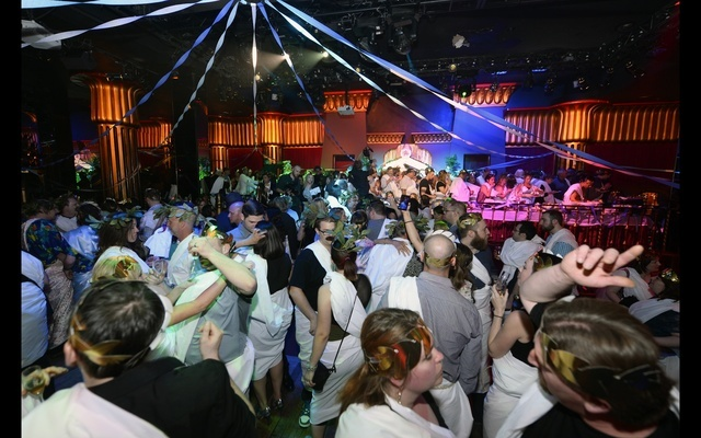 """Toga party at the end of Wednesday's """"Absinthe"""" anniversary. (Courtesy photo by Bryan Steffy/WireImage)"""