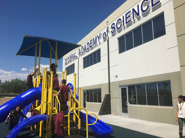 Students play outside of Coral Academy's new campus in the northwest and North Las Vegas area. The award-winning Science, Technology, Engineering and Mathematics, or STEM, school opened in Centenn ...