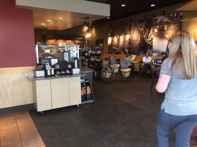 Patrons are seen inside Starbucks at 7260 S. Rainbow Blvd. in Las Vegas on Tuesday, Sept. 27, 2016. A fatal shooting broke out inside the coffee shop on Sunday, Sept. 25, 2016. Raven Jackson /Las  ...