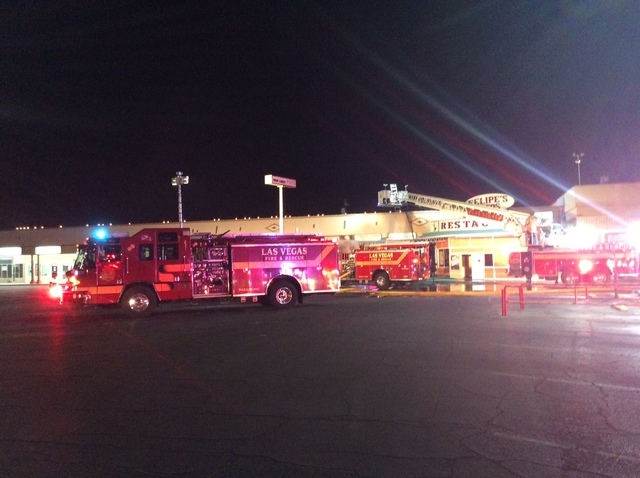 Six businesses were damaged in a three-alarm fire at Twin Lakes Plaza, 1000 N. Rancho Drive, early Friday morning, Sept. 23, 2016. (Las Vegas Fire Department)