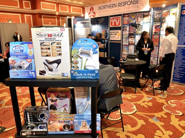 The Northern Response infomercial and retail product distribution booth is shown at the 2016 Electronic Retailing Association D2C Convention is shown in the Wynn Las Vegas hotel-casino at 3131 S.  ...