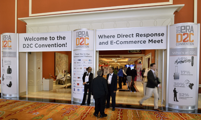 The entrance to the 2016 Electronic Retailing Association D2C Convention is shown in the Wynn Las Vegas on Wednesday, Sept. 14, 2016. (Bill Hughes/Las Vegas Review-Journal)