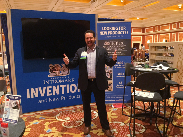 Ronny Smith, with InventHelp Intromark, waits for attendees at his booth during D2C, an infomercial industry convention at Wynn Las Vegas, on Wednesday, Sept. 14, 2016. (Nicole Raz/Las Vegas Revie ...