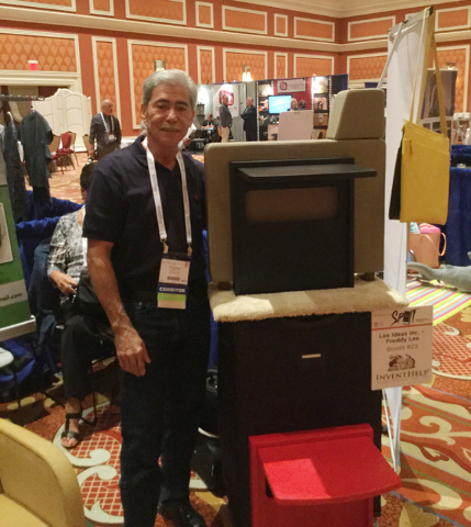 Freddy Lee presents his invention, the Flip Top Table, at D2C, an infomercial-industry convention at Wynn Las Vegas, Thursday, Sept. 15, 2016. (Nicole Raz/Las Vegas Review-Journal)