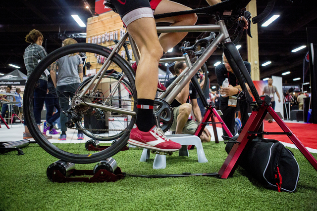 A stationary bike is tested at the annual Interbike International Bicycle Exposition at the Mandalay Bay Convention Center, Wednesday Sept. 21, 2016, in Las Vegas. (Elizabeth Page Brumley/Las Vega ...
