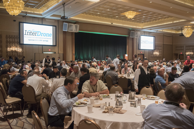 InterDrone conference attendees eat lunch between events in the convention center at Rio hotel-casino in Las Vegas Wednesday, Sept. 9, 2015. (Jason Ogulnik/Las Vegas Review-Journal)