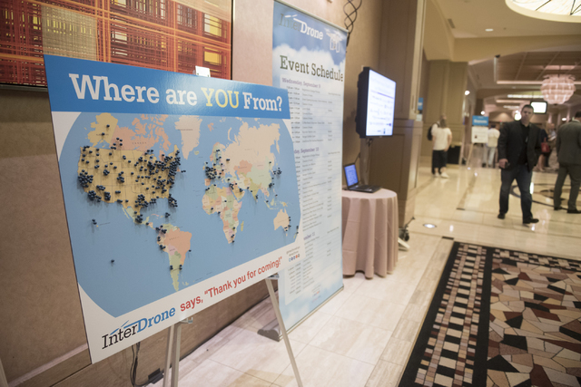 A map showing where InterDrone attendees are visiting from is shown in the convention center hallways at Rio hotel-casino in Las Vegas Wednesday, Sept. 9, 2015. (Jason Ogulnik/Las Vegas Review-Jou ...