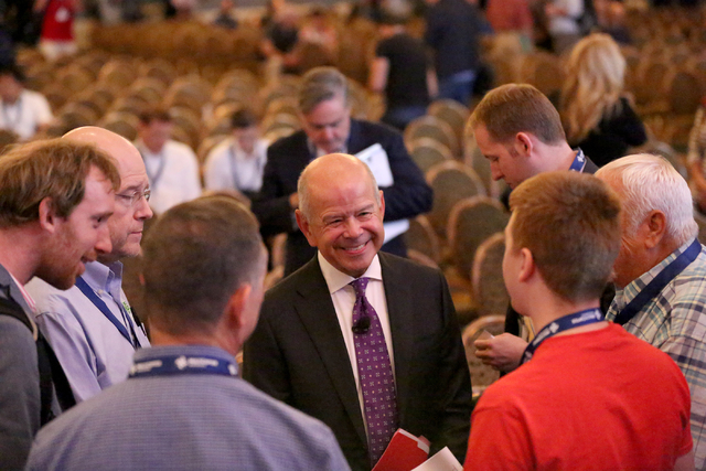 Michael P. Huerta, Administrator of the Federal Aviation Administration, speaks with attendees of Interdrone, the International Drone Conference and Exposition, at the Paris Hotel Casino on Septem ...