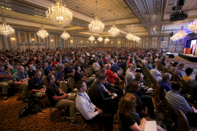 Attendees of Interdrone, the International Drone Conference and Exposition, at the Paris Hotel Casino listen to the keynote address from Michael P. Huerta, Administrator of the Federal Aviation Ad ...