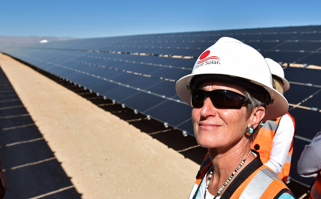 Secretary of the Interior Sally Jewel tours the Moapa Southern Paiute solar project site, Thursday, Sept. 15, 2016, in Moapa. Jewel visited First Solar Moapa's 250 megawatt site and spoke about th ...