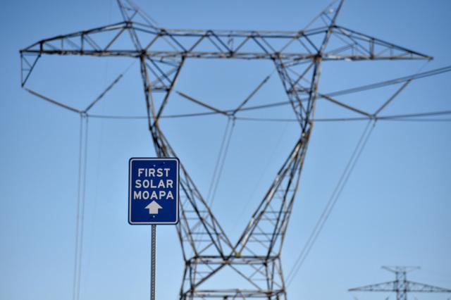 A sign directing motorists to the First Solar Moapa's 250 megawatt solar project is seen, Thursday, Sept. 15, 2016, in Moapa. (David Becker/Las Vegas Review-Journal) Follow @davidjaybecker