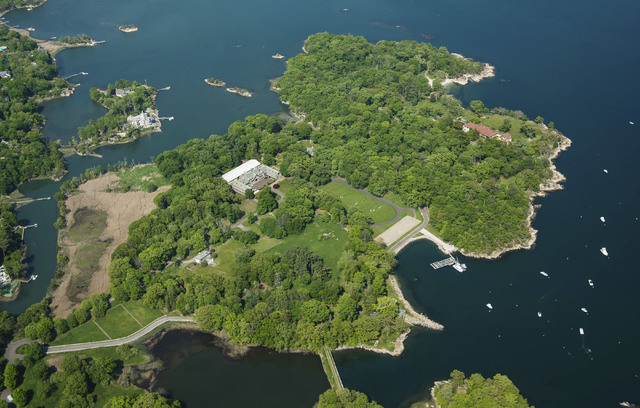 A 63-acre estate sits on Great Island in Long Island Sound in Darien, Conn., in May. (Stanley Jesudowich/David Ogilvy & Associates Realtors via AP)