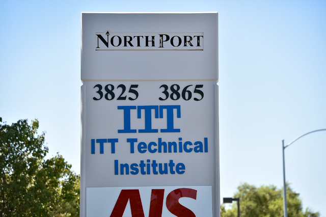 A marquee sign is seen in front of the ITT Technical Institute Tuesday, Sept. 6, 2016, in North Las Vegas. The West Cheyenne Avenue campus along with 137 campuses across 39 states closed on Tuesda ...