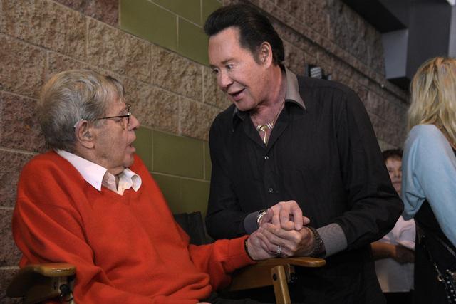 "Jerry Lewis talks with Wayne Newton before a preview of his new film ""Max Rose"" Saturday, Sept. 24, 2016 at Regal Village Square Cinemas in Las Vegas. CREDIT: Sam Morris/Las Vega ..."