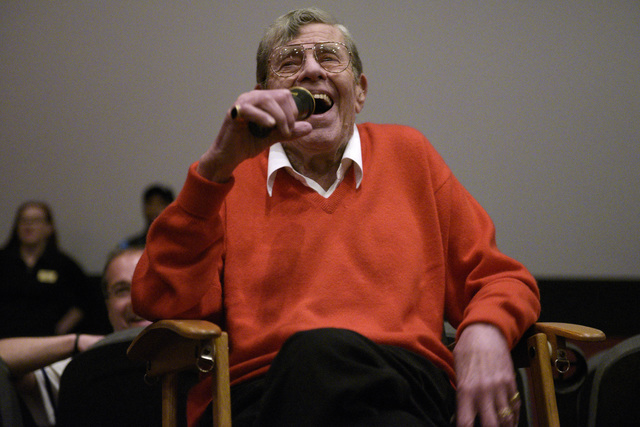 """Jerry Lewis takes part in a question and answer session after a preview of his new film """"Max Rose"""" Saturday, Sept. 24, 2016 at Regal Village Square Cinemas in Las Vegas. CREDIT:  ..."""