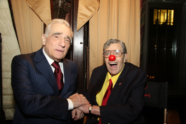 Martin Scorsese is shown with Jerry Lewis on Wednesday night at the Friars Club in New York, after Scorsese was honored with the club's Icon Award, its top honor. (Friars Club photo)