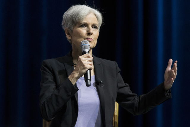 Green Party presidential nominee Dr. Jill Stein speaks during the Asian American Journalists Association Presidential Election Forum at Caesars Palace hotel-casino on Friday, Aug. 12, 2016, in Las ...