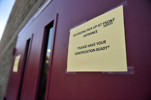 A sign is seen posted at Johnson Junior High School Tuesday, Sept. 13, 2016, in Las Vegas. The school reopened after being closed for a mercury contamination cleaning since last Thursday. David Be ...