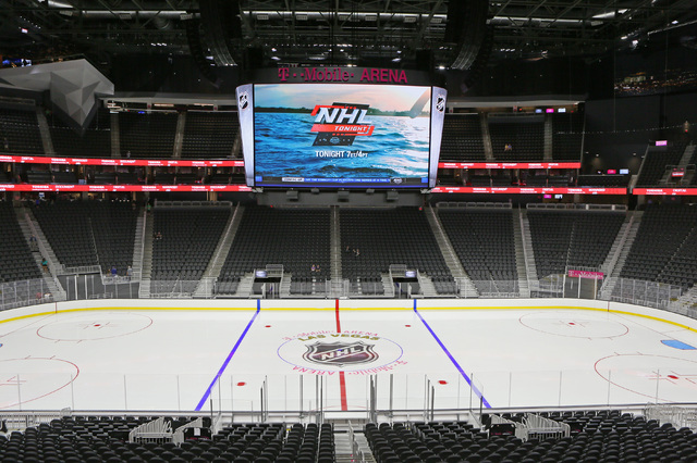Center ice is shown during an open house for prospective 2017 Vegas NHL hockey season ticket holders at T-Mobile Arena Monday, Aug. 1, 2016, in Las Vegas. (Ronda Churchill/Las Vegas Review-Journal)