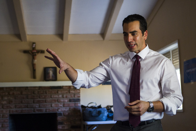 Democratic congressional candidate Ruben Kihuen speaks to supporters at a home in Las Vegas on Thursday, Aug. 11, 2016. Chase Stevens/Las Vegas Review-Journal Follow @csstevensphoto