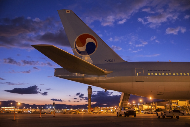A Korean Air B777-300ER waits to take off at terminal three at McCarran International Airport during an event to celebrate the 10th anniversary of Korean Airlines at McCarran on Wednesday, Sept. 2 ...