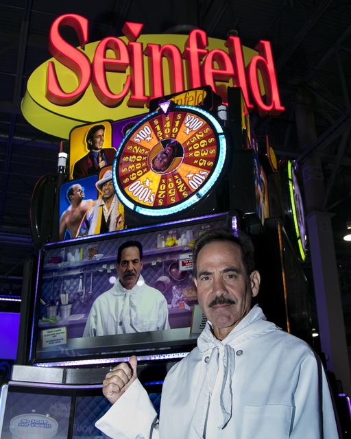 "Larry Thomas wears his ""Soup Nazi"" costume for the debut of new ""Seinfeld"" slots at the Global Gaming Expo Tuesday. (Courtesy Scientific Games)"
