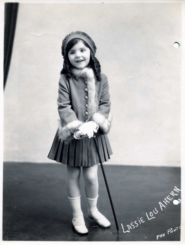 Silent movie actress Lassie Lou Ahern models an outfit in a promotional shot for her line of children's clothes. (Courtesy Jeffrey Crouse)