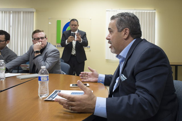President of the Las Vegas Latin Chamber of Commerce  Peter Guzman speaks during a roundtable discussion on the state of the economy for Latinos in Nevada at the Las Vegas Latin Chamber of Commerc ...