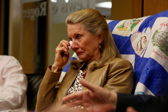 A tearful Avis Winters, mother of Susan Winters, sits at the law firm of Anthony Sgro on Sept. 7, 2016, while discussing the events surrounding her daughter's death. Elizabeth Page Brumley/Las Veg ...