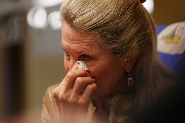 A tearful Avis Winters, mother of the late Susan Winters, discusses the events around her daughter's death at the Law firm of Anthony Sgro,  Wednesday, Sept. 7, 2016, in Las Vegas. (Elizabeth Page ...