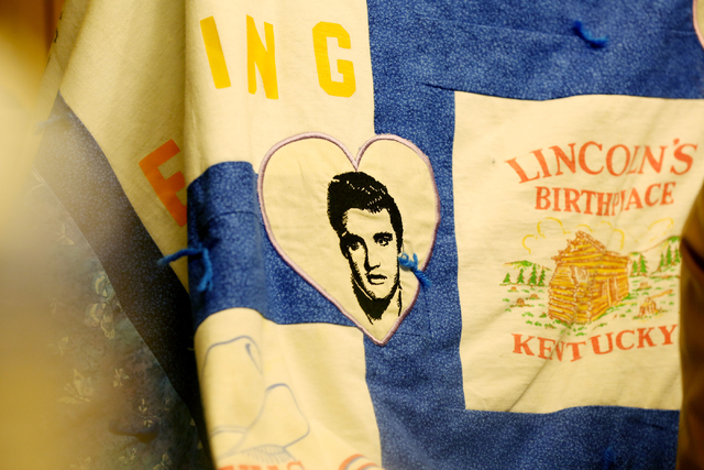 A quilt made of Susan Winters' favorite T-shirts from childhood is shown at the law firm of Anthony Sgro on Sept. 7, 2016, in Las Vegas. (Elizabeth Page Brumley/Las Vegas Review-Journal Follow @EL ...
