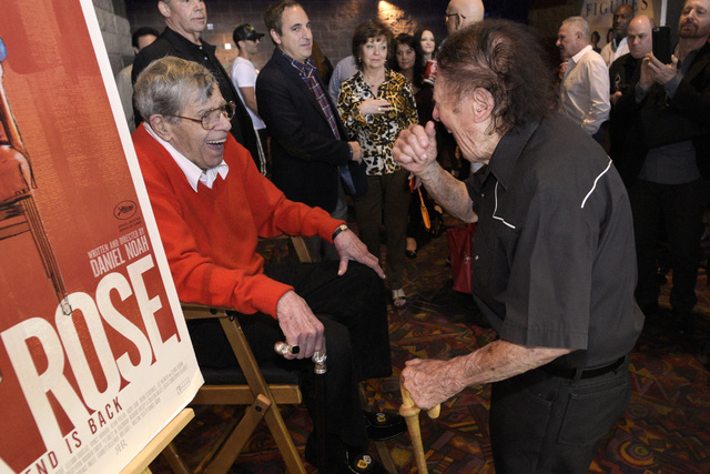 """Jerry Lewis talks with Marty Allen before a preview of his new film """"Max Rose"""" Saturday, Sept. 24, 2016 at Regal Village Square Cinemas in Las Vegas. CREDIT: Sam Morris/Las Vegas ..."""